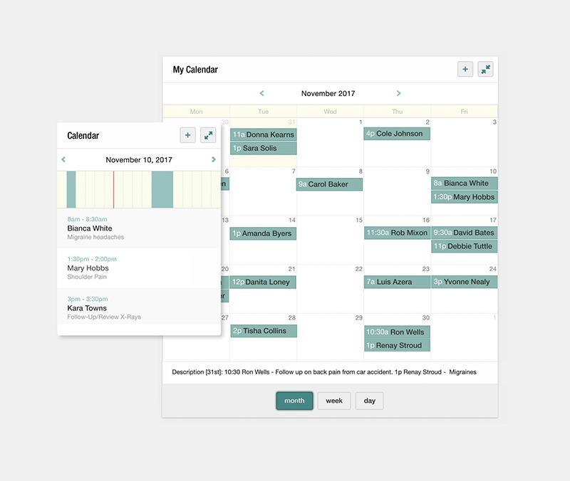 Screenshot of the Calendar interface