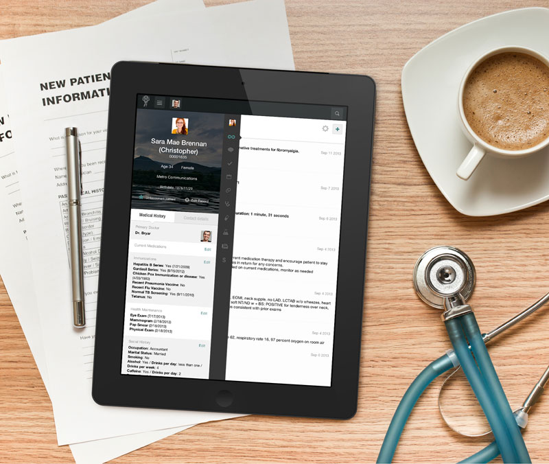Screenshot of the patient profile interface
