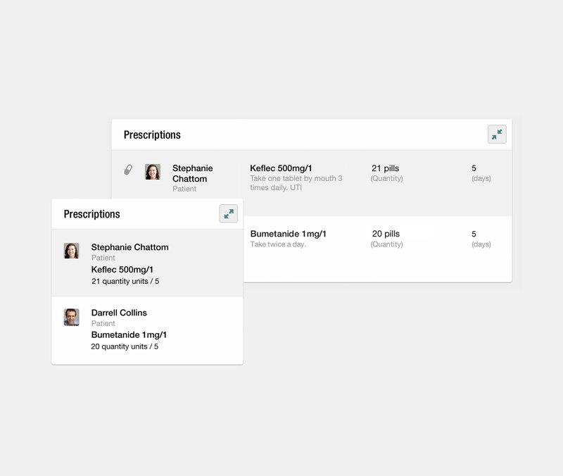 Screenshot of the prescriptions interface